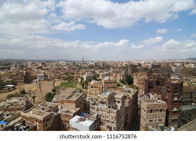View on the old Sanaa. The old city of Sanaa is declared a UNESCO World heritage site now destroed due to civil war