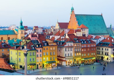 view on Old Town in Warsaw at dusk, Poland