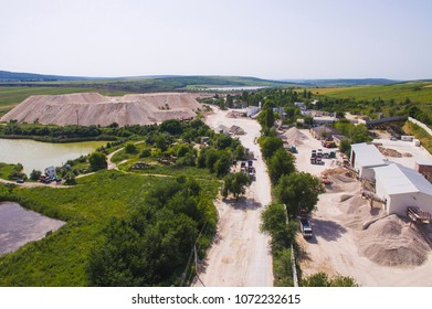 view on opencast and industrial works from dron