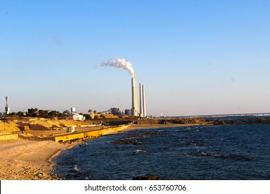 View on Orot Rabin coal-fired power station situated on the Mediterranean coast in Hadera, Israel