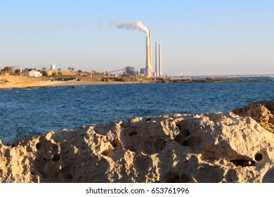 View on Orot Rabin coal-fired power station situated on the shore of Meditteranean Sea in Hadera, Israel