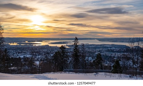 View on the Oslo fjord  during sunset from Holmenkollen