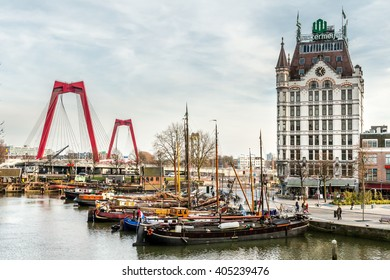 A view on the Oude Haven, Rotterdam, The Netherlands (March 2016) taken from the Overblaak (Kubuswoningen)