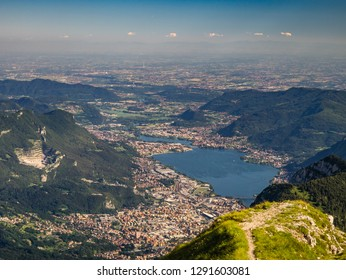 View on Padan Plain and city of Lecco from Grigna Meridionale summit, Lombardy, Italy