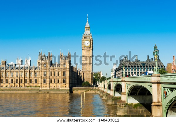 View on the Palace of Westminster from the River Thames, London, United Kingdom