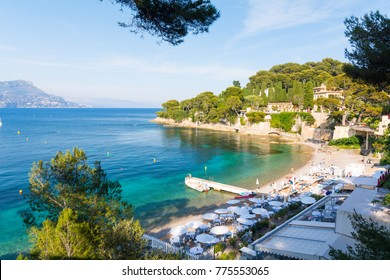 view on Paloma Beach near Villefranche-sur-Mer on french riviera, cote d'azur, France