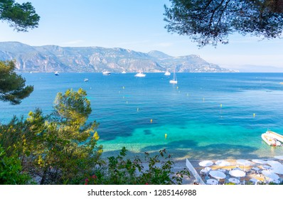 view on Paloma Beach in Saint Jean Cap Ferrat, cote d'azur, french riviera, France