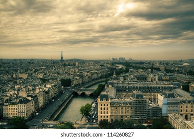 View on Paris, HDR with moody sky from Notre Dame de Paris