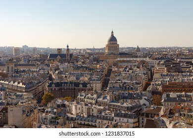 View on Paris with Pantheon and Quartier latin form Notre Dame cathedral. Paris, France