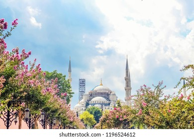 View on park  and Sultanahmet Mosque. Selective focus. Istanbul, Turkey.