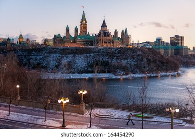 View on the Parliament and the Ottawa river at sunset