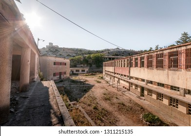 View on the part called Wire of the complex used to be male prison during communist era on Goli otok, Naked Island, Croatia.Only privileged prisoners used to live in this part since there was no fence