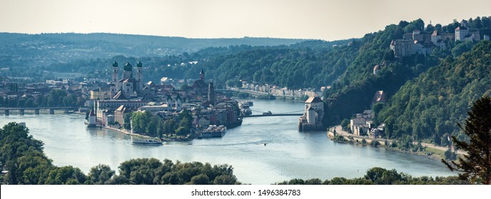 View on Passau, The City of Three Rivers in Bavaria Germany.