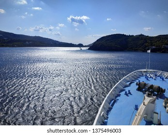 View on the Patmos island from the ship deck. Greece.