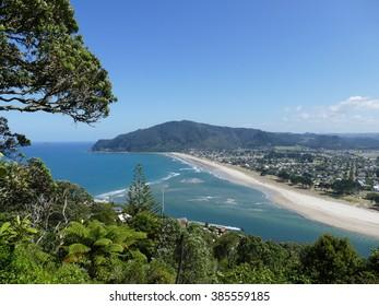 View on Pauanui beach from Taipua hill on the Coromandel Peninsula, New Zealand. The town of Pauanui meaning Big Paua (abalone) in Maori.