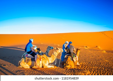View on persons doing camel trek in the desert of Morocco next to M'hamid