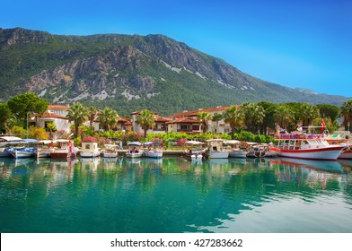 View on pier with boats and yachts, Marmaris pier, boats and yacht, Mediterranean sea