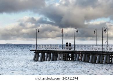 View on pier in Orlowo, Poland