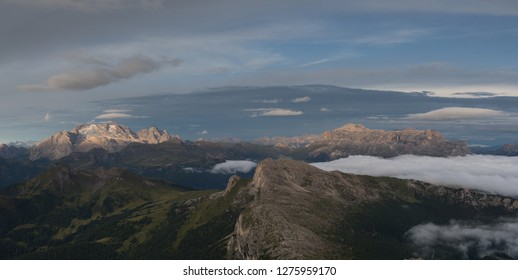 View on Piz Boe and Grand Vernel  mountains from Lagazuoi refugio.
