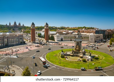 View on Plaza de Espanya with National Palace in Barcelona