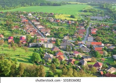 """View on Krásnohorské Podhradie village, hungarian: """"Krasznahorkaváralja"""". Municipality in the Rož?ava District in the Košice Region of middle-eastern Slovakia. Outlook on Kráshohorské podhradie"""