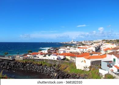View on Ponta Delgada and Atlantic ocean coast on Sao Miguel island, Azores, Portugal