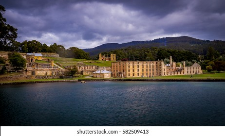 View on Port Arthur from the sea. The UNESCO world heritage penitentiary is located on the Tasman Peninsula, Tasmania, Australia.