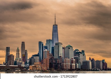 a view on powerful Manhattan in sunset lights