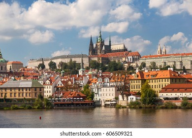 View on the Prague Castle, Prazsky hrad in Czech, and Vltava river.