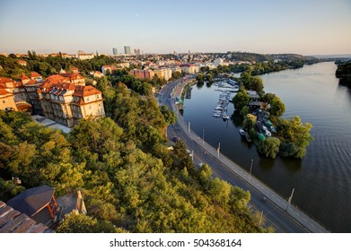 View on Prague cityscape and Vltava river in late afternoon sun