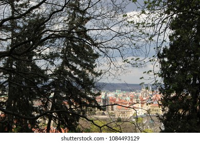 view on prague from park in czech republic in spring landscpae