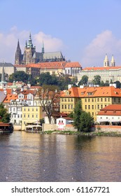 The View on Prague summer gothic Castle above River Vltava