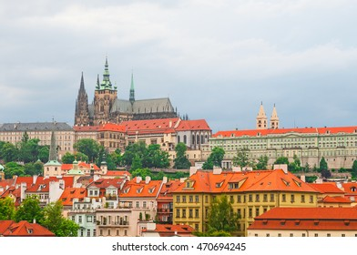 View on Prague town and St.Vitus cathedral in Prague Castle, Czech Republic