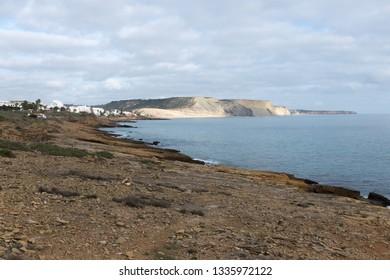View on Praia da Luz from Burgau side. Algarve, Portugal