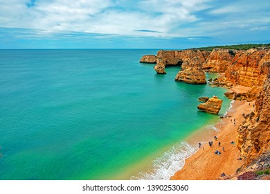 View on Praia da Marinha in the Algarve Portugal