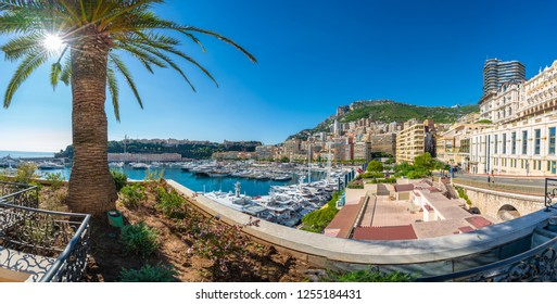 View on Principality of Monaco with luxury yachts on port, French Riviera coast, Cote d'Azur, France