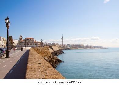 View on promenade by the sea in Cadiz, Spain