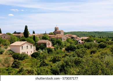 View on provencal village  landscape, Provence, France. On sunny summer day.