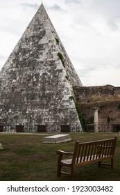 A view on Pyramid of Cestius in Piazza della Piramide in Rome. - Shutterstock ID 1923003482