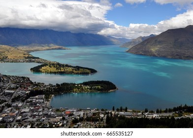 View on Queenstown at Lake Wakatipu in New Zealand