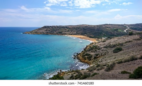 View on Ramla Bay beach, top of a hill, Gozo, Malta