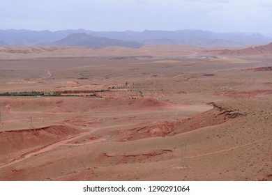 View on the red desert in the Atlas mountains near Tinghir, Morocco
