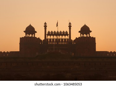 view on Red Fort in Delhi at sunrise