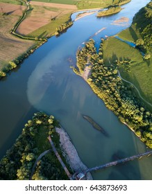 View on the river from air. Natural landscape in the summer time
