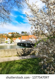 View on the river bank in Landsberg am Lech town in Germany, Bavaria, best places to travel in Europe during Spring and Easter holidays