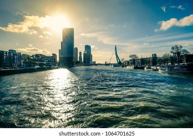 View on the river Maas, Rotterdam. Color shift by intent