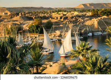 View on the river Nile at sunset in Aswan, Egypt