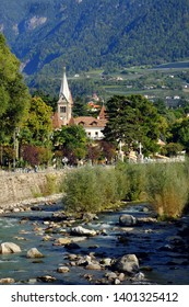 View on the river Passer in Meran, South Tyrol, Italy.