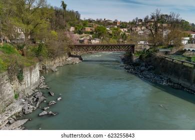 View on the river Rioni in Kutaisi, Georgia. Vivid image