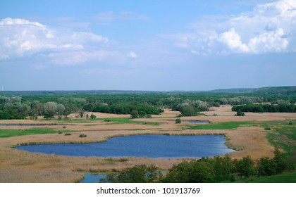View on the river , spring .Ukraine.